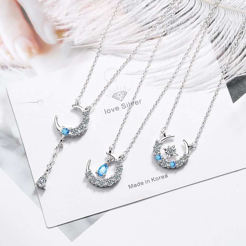 Fashion 3 Styles Star Moon Necklace With Blue Zircon Embellished Water-Drop Shaped Jewelry S-N378