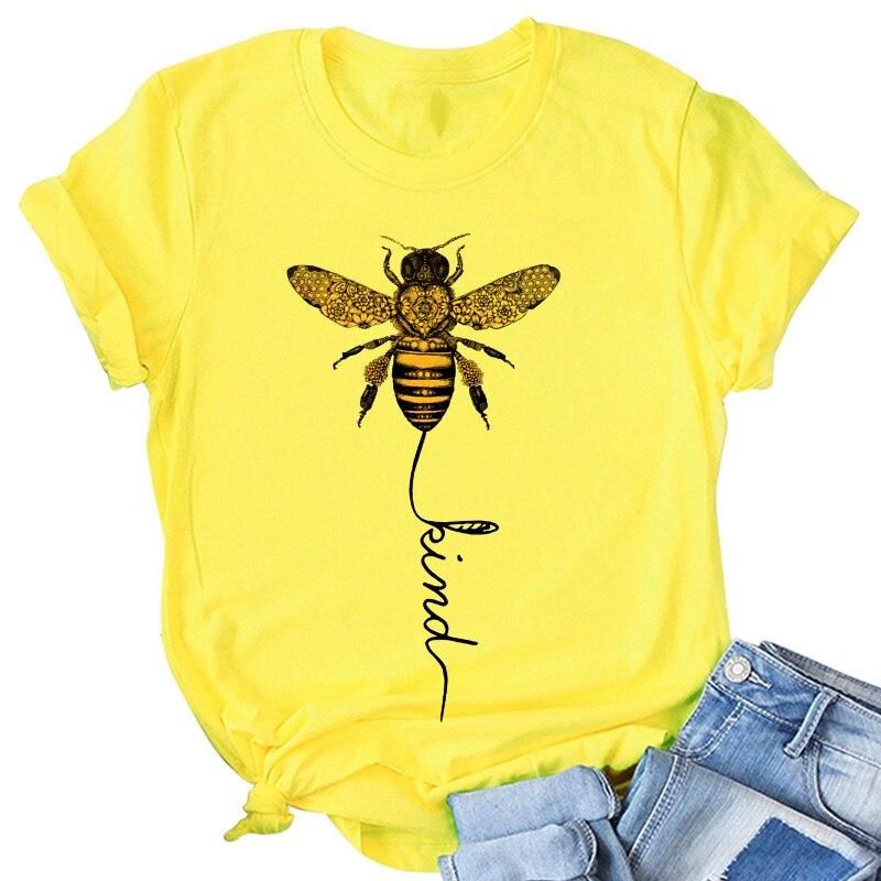 Hillbilly abelha tipo amarelo camiseta feminino estética gráfico de manga curta algodão poliéster t camisas femininas camisetas verano 2020