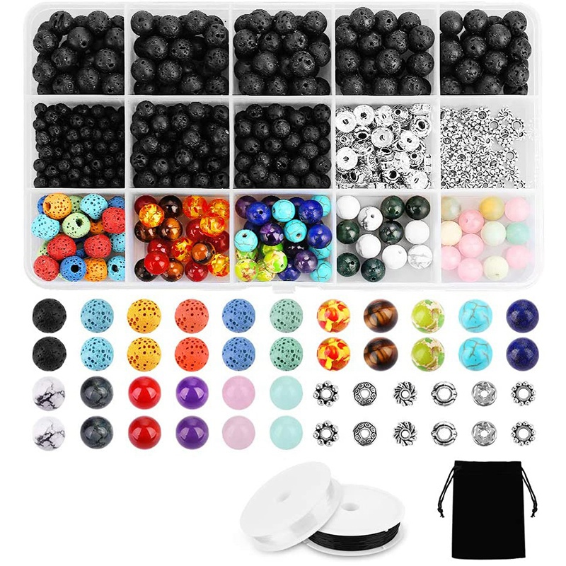 526PCS Lava Bead Set Rock Stone, Chakra Beads, Aqua Cat, DIY Friendship Bracelets, Necklaces and Other Jewelry(China)