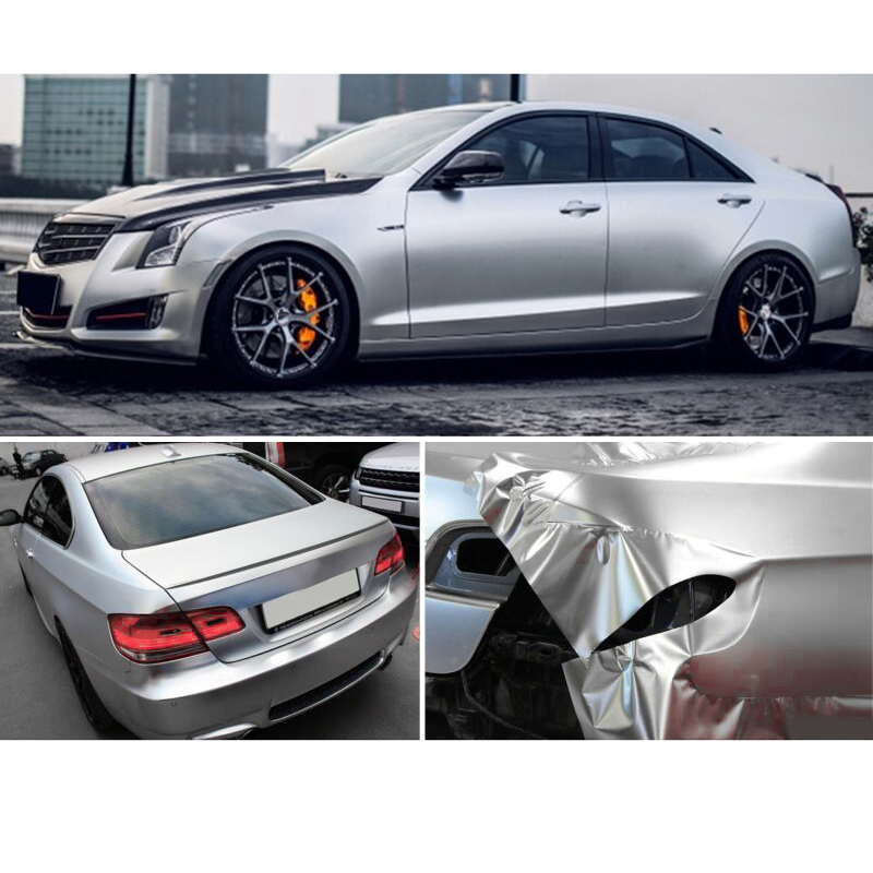 Image 4 - car accessory 30*150CM Satin Matte Chrome Metallic Silver Vinyl Film Wrap Sticker Bubble Free-in Car Stickers from Automobiles & Motorcycles