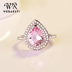 WEGARSTI Heart Shaped Water Drop Zircon Set 925 Silver Jewelry Pink Red European Style Engagement Gift Ring Women Fine Jewelry