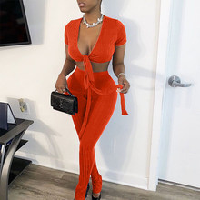 Ribbed Sexy 2 Piece Set Tracksuit Women Summer Clothes Club Two Piece Set Short Sleeve Solid Bow Tie Crop Top and Slit Pants Set(China)