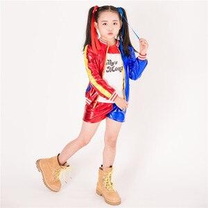 Image 5 - 3 Chiếc Nóng Nữ Harley Quinn Áo Thun Tee Của Bố Lil Quái Vật Tự Sát Đội Hình Trang Phục Cosplay Halloween Cotton Quần Áo Cho trẻ Em