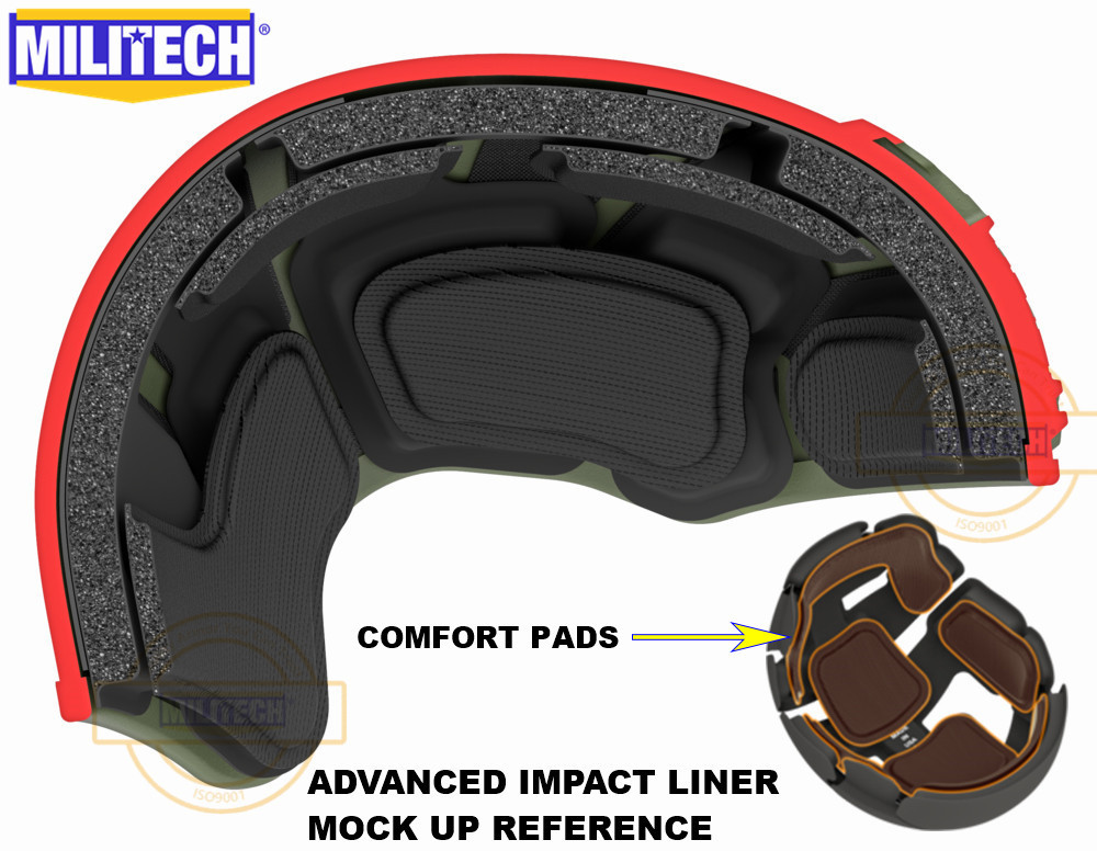 MILITECH Stack Built Advanced Impact Liner Padding System For Flux / FAST / MICH / OPS-Core / ACH / MTEK /PASGT Ballistic Helmet