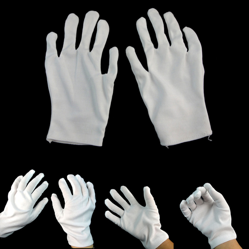 Hot Sale 1 Pair Adult White Gloves Shuffle Dance Jewelry Care Performance Halloween Party Magician Magic Show Unisex Glove