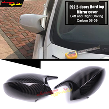 For BMW E92 2-Door Hard Top Mirror Cover Cap Add on Style M3 Look 100% Real Vacuumed Dry Carbon Fiber Replacement 2006-09