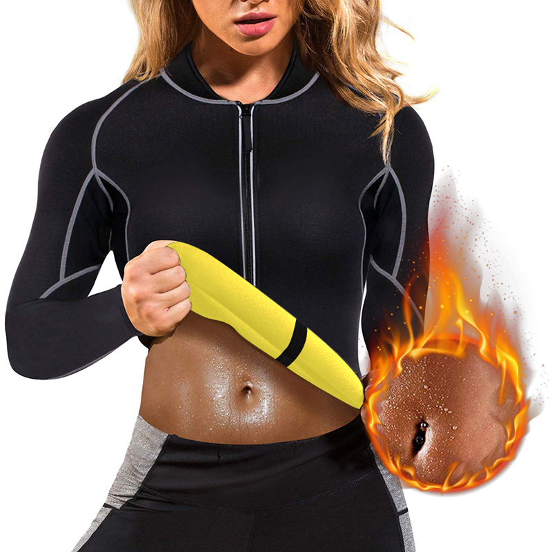 Women Neoprene Sauna Vest With Sleeves Gym Hot Sweat Suit Weight Loss Long Sleeves Body Shaper Fat Sports Top Plus Size 2019
