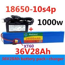 36V батарея 10S4P 28Ah батарейный блок 1000W высокая мощность батареи 42В 28000 мА/ч, фара для электровелосипеда в электрических велосипедов BMS + 42VCharge