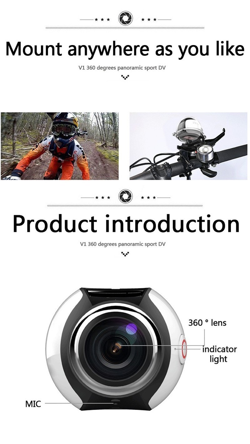 Closeout DealsΩAction-Camera Panoramic Wifi Wide-Angle Waterproof 360 16MP 2448--2448/30fps Full-Hd