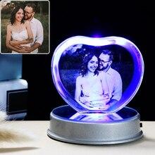 Customized K9 Crystal Photo Frame LED Base Laser Engraved Picture Home Decoration Personalized Wedding Photo Frame