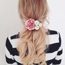 Корейская мода аксессуары для волос Большой жемчуг роза цветок