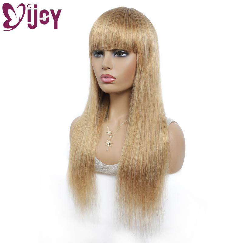 Honey Blonde Brazilian Straight Human Hair Wigs With Bangs IJOY Long Straight Full Machine Made Non Lace Wigs For Black Women