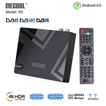 MECOOL K5 Smart TV Box Android 9 0 Amlogic S905X3 2 4G 5G WIFI BT 4 1 2GB 16GB DVB S2 T2 górny zestaw pilot na podczerwień tanie i dobre opinie 100 M CN (pochodzenie) Amlogic S905X3 Quad core ARM Cortex-A55 CPU 16 GB eMMC HDMI 2 1 2G DDR3 0 5KG 1x USB 2 0 1x USB 3 0