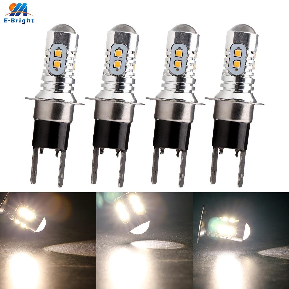4pcs H3C 2323 10 SMD DC 12V 6500-8000K 800lm Car Led Fog Headlight Light Auto Turn Singnal Bulb DT Running Nonpolarity