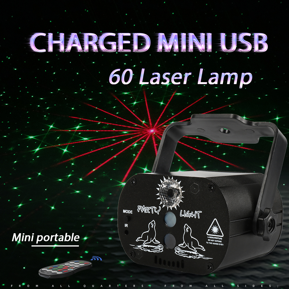Djworld Mini Effect 60 Patterns RGB USB Charged Laser Light Wireless Remote Projection For Dj Disco Party Dance Floor