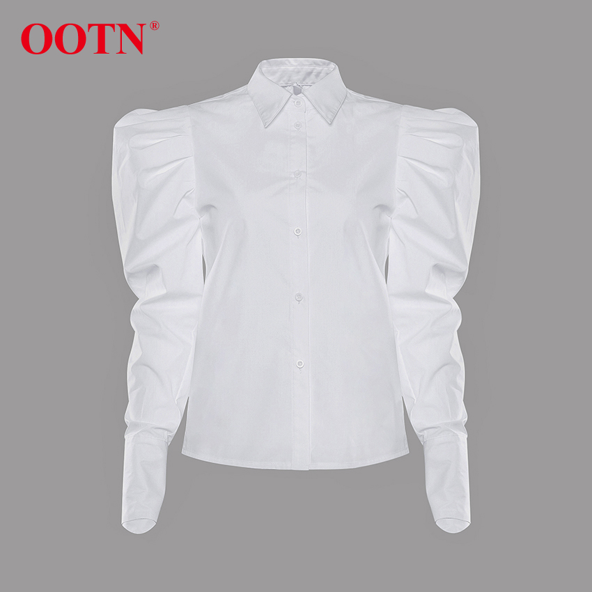 H6cc6be1d26654b928b6942ff1c23bc57I - OOTN Elegant White Puff Sleeve Blouse Women Shirts Office Lady Ladies Work Wear Turn Down Collar Womens Tops And Blouses Female