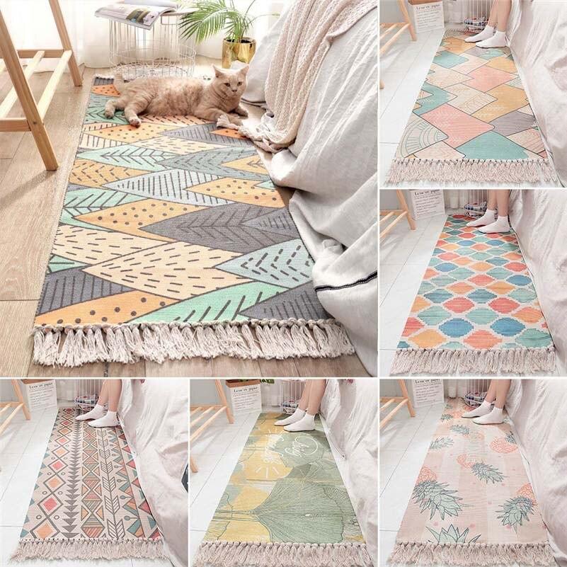 Bohème artisanal glands coton tapis chambre salon anti-dérapant tapis géométrique plancher porte tapis décoratif tapis