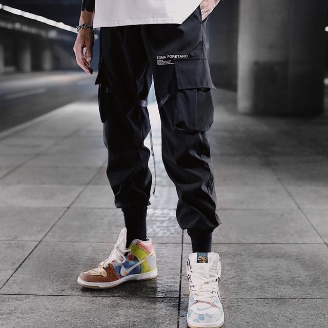 Hip Hop Ribbons Cargo Pants Men Joggers Pants Streetwear Men 2020 Fashion Mens Elastic Waist Pant Ribbons Cotton Black W117 3