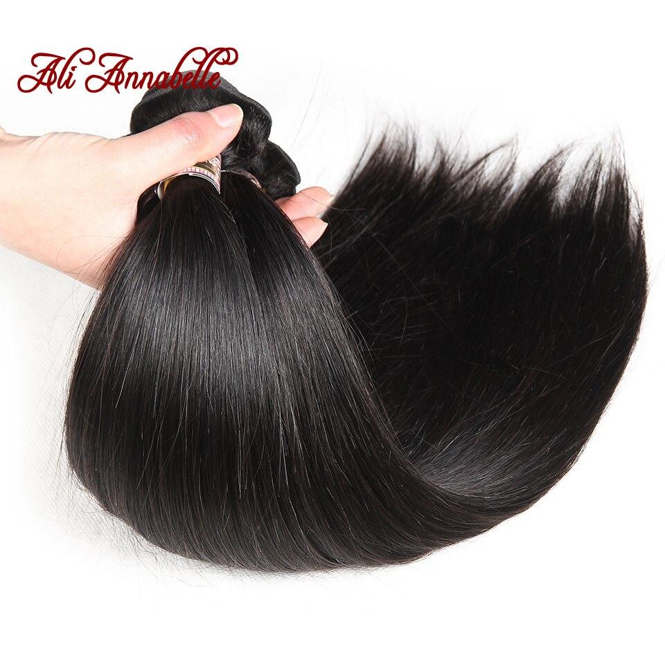 ALI ANNABELLE Straight Hair Bundles Human Hair Bundles 34 32 30 28 Inch 1 3 4 Bundles Deals Natural Brazilian Hair Weave Bundles 3