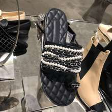 Summer 2020 new pearl chain flip-flops for women with flat sandals and stylish beaded flats stylish women s sandals with flowers and black colour design