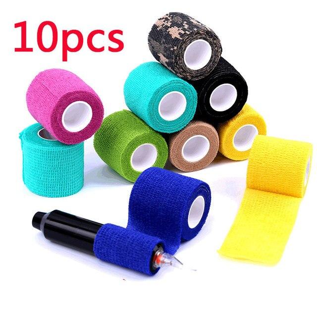 10Pcs Waterdichte Beveiliging Zelfklevende Samenhangend Verband Elastische Wrap Ehbo Sport Body Gaas Dierenarts Medische Tape