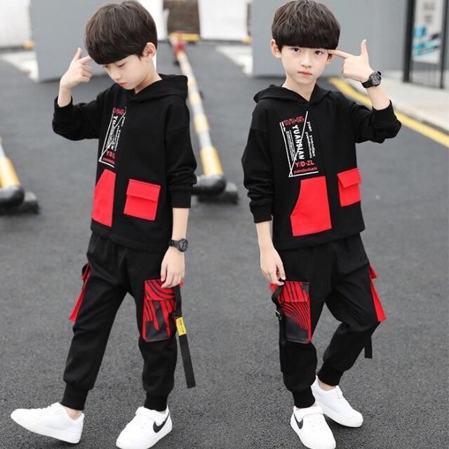 spring autumn kids cotton clothes sets Boys' Leisure Suit Coat + Boys' pants Sportswear Students Trousers 3