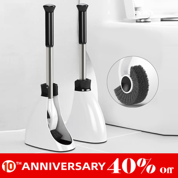 UNTIOR Stainless Steel Handle Toilet Brush Holder Floor-standing Bathroom Accessories With Base Cleaning Tool Toilet Brush Set недорого