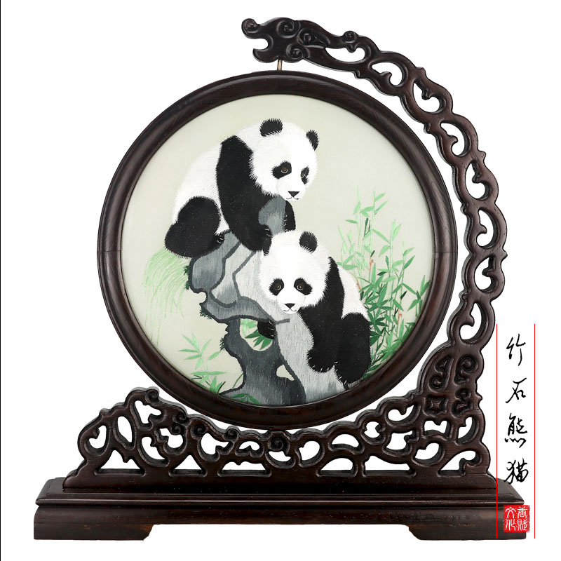 Tangfoo Round Screens Art Crafts Desktop Decoration Chinese Vintage Glass Antique Mini Screen Ornaments Room Divider