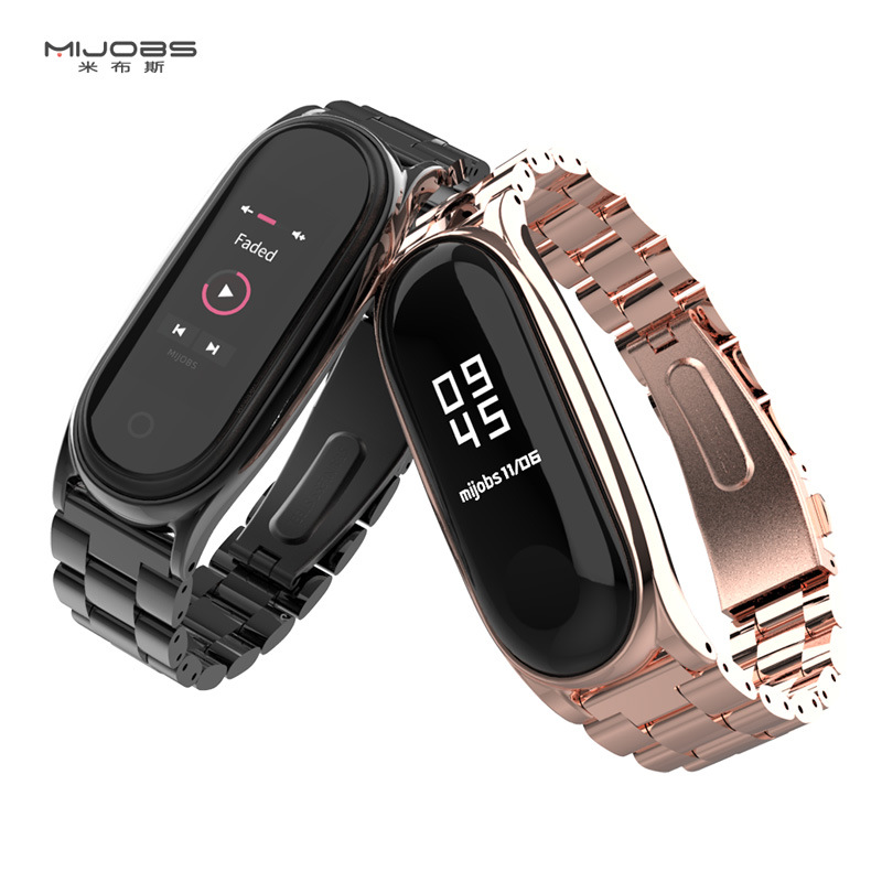 For Xiaomi Mi Band 4 3 Strap Metal Wristbands Stainless Steel Bracelet For Mi Band 4 Strap Correa Miband 3 Wrist Bands Pulsera