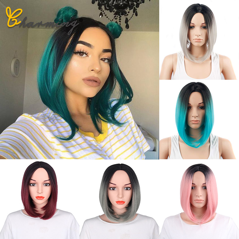 CHARMING Straight Black Synthetic Wigs None Bangs For Women Medium Length Hair Bob Wig Heat Resistant Bobo Hairstyle Cosplay Wig