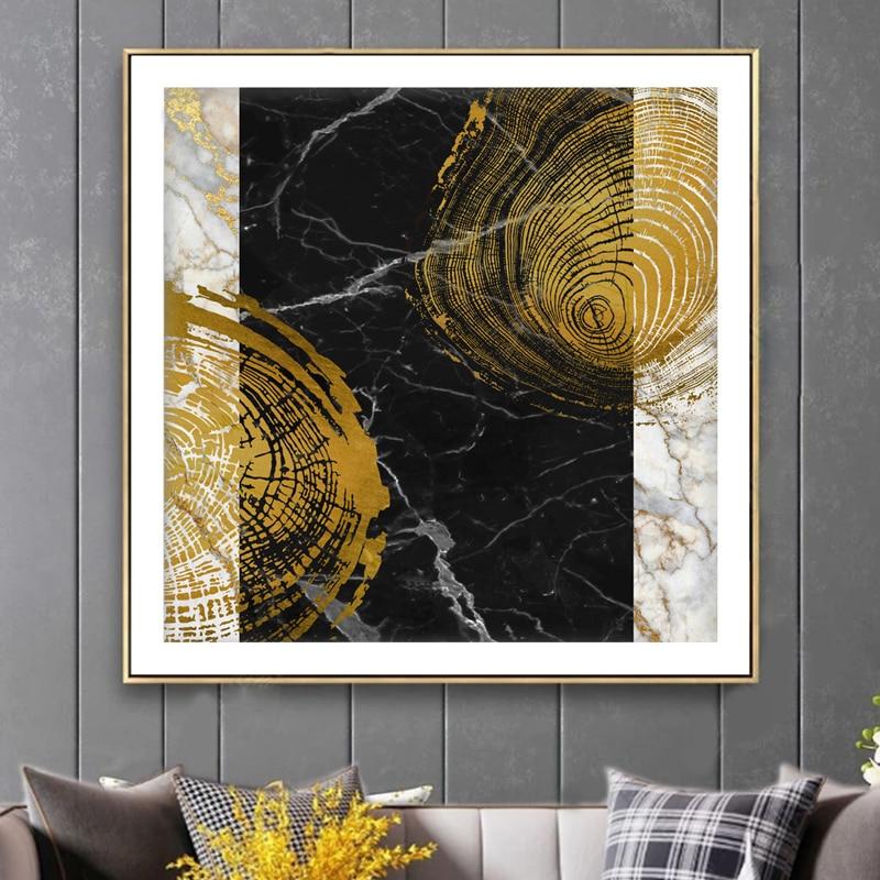 abstrait or veine peinture tableaux affiche impression entree allee cuadros salon decoracion or noir blanc moderne carre decor