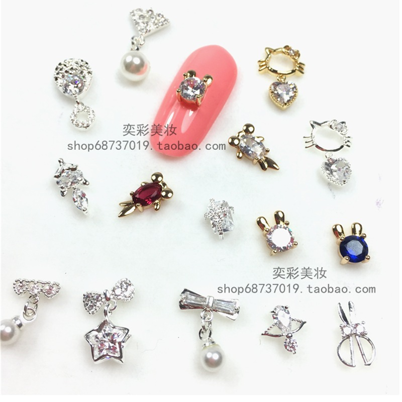 Nail Ornament Bow Nail Sticker Man-made Diamond Pearl Bride Manicure Zircon Pendant Manicure Implement M785