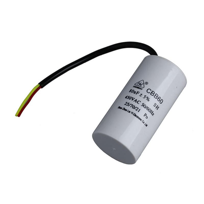 CBB60 AC 450V 80uF Polypropylene Film Motor Run Start Capacitor