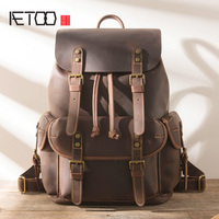 AETOO Vintage leather shoulder bag, ultra large handmade multi purpose backpack, head leather men's trend travel bag