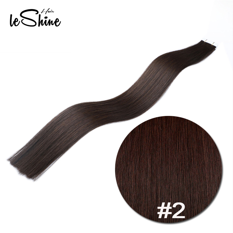 Leshine Tape In Human Hair Extensions Straight Indian Remy 2# Hair On Adhesive Invisible PU Skin Weft Extension 20pcs/pack
