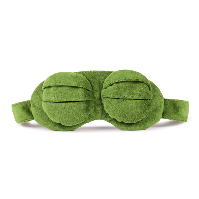 Kids Sleep Mask Cute Sleeping Eye Mask Plush Eye Cover Sleeping Mask 3D Frog Green Eye Band Rest Eyepatch Eye Blindfold 2