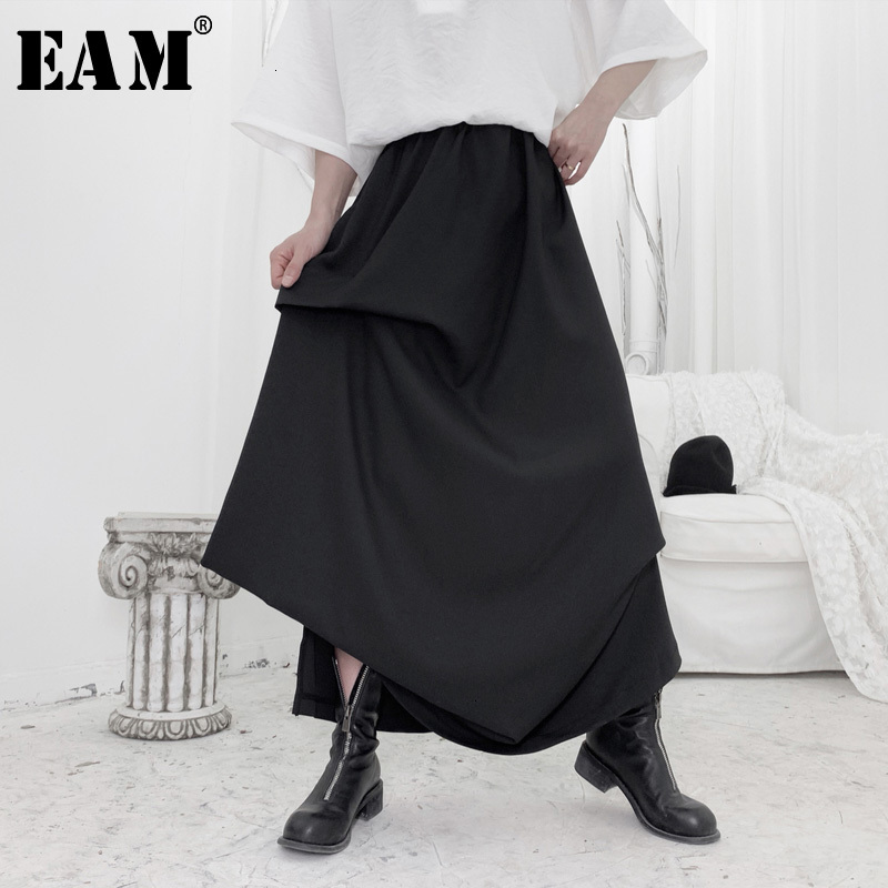 [EAM] High Elastic Waist Black Asymmetrical Pleated Temperament Half-body Skirt Women Fashion New Spring Autumn 2020 19A-a652