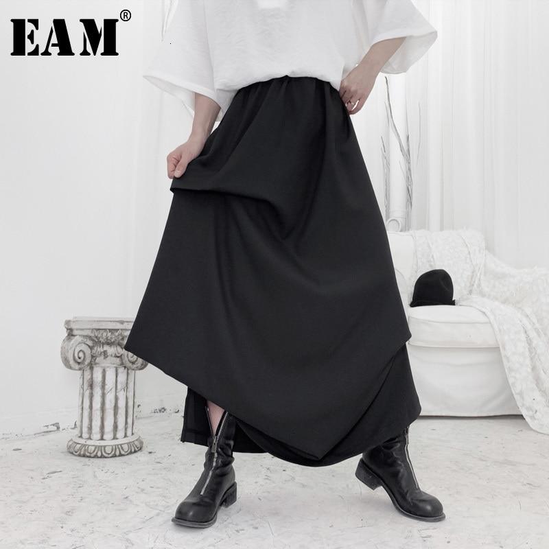 [EAM] High Elastic Waist Black Asymmetrical Pleated Temperament Half-body Skirt Women Fashion New Spring Autumn 2020 19A-a652