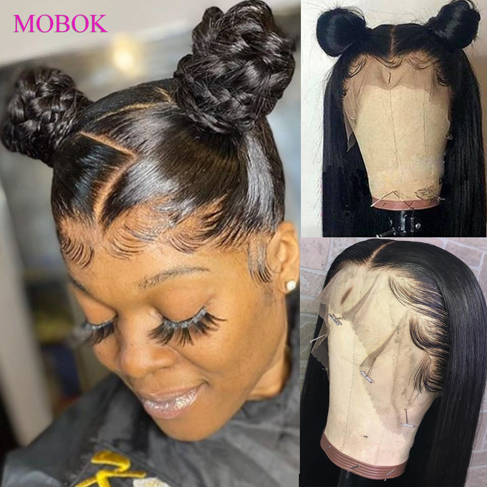 Mobok Wig Straight Human-Hair-Wigs Lace-Frontal Malaysia Pre-Plucked 360 180%Remy 13X4