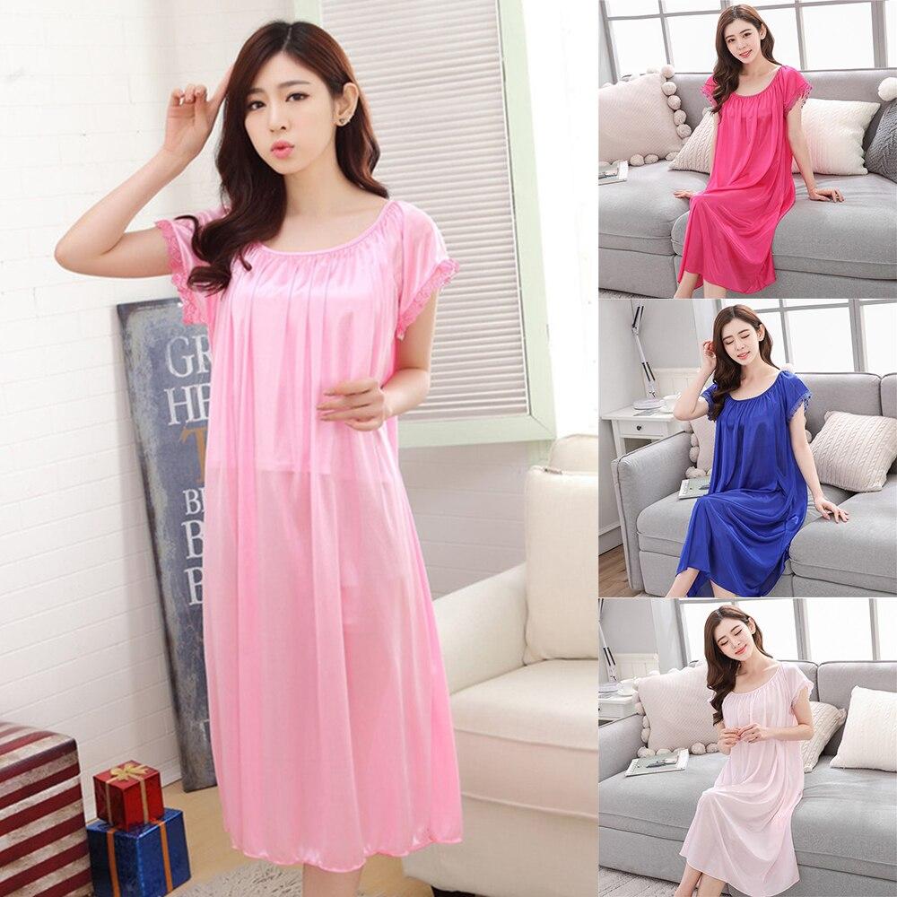 Home Sexy Short Sleeve Women Sleepwear Satin Nightgown Vestidos Lace Ice Silk Nightdress Oversized  Lingerie Nightdress