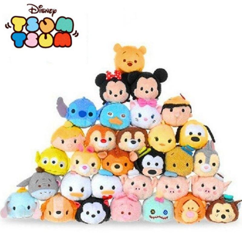 1pc Disney Tusm Tusm Plush Doll Lovely Mickey Minnie Stitch Winnie QiQI Dumbo Olaf For Girls Boys Plush Animals Toy Juguetes
