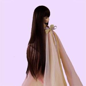 Image 5 - Allaosify Bjd Wig 1 PCs Long Straight Hair 1/3 1/4 1/6 1/8 Bjd Doll Wig Black Bangs Free Shipping