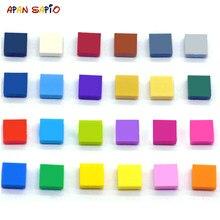 100 шт. DIY строительные блоки кубики числа гладкий 1x1 24 Цвет развивающие креативный Размеры игрушки для детей совместимы с самых лучших брендо...