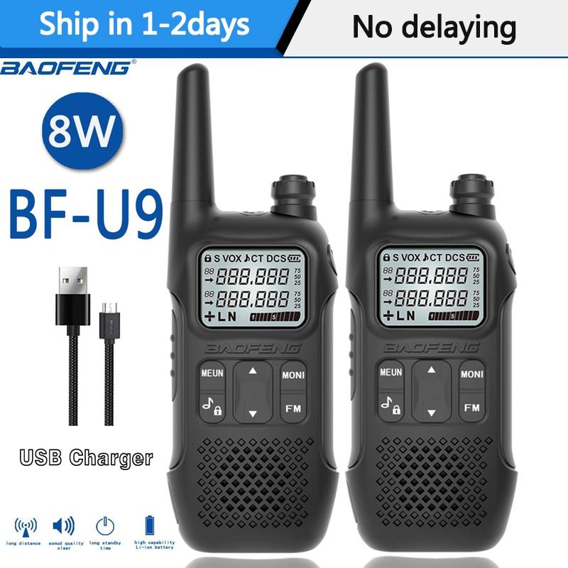 2PCS Mini  Baofeng BF-U9/R8  8W Walkie Talkie USB Fast Charge 8W UHF 400-470MHz Ham CB Portable Radio Set Uv-5r
