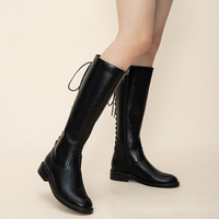 D Knight Brand Leather Women Knee High Boots Motorcycle Round Toe Footwear Female Riding Boot Woman Winter 2020 New Ladies Shoes