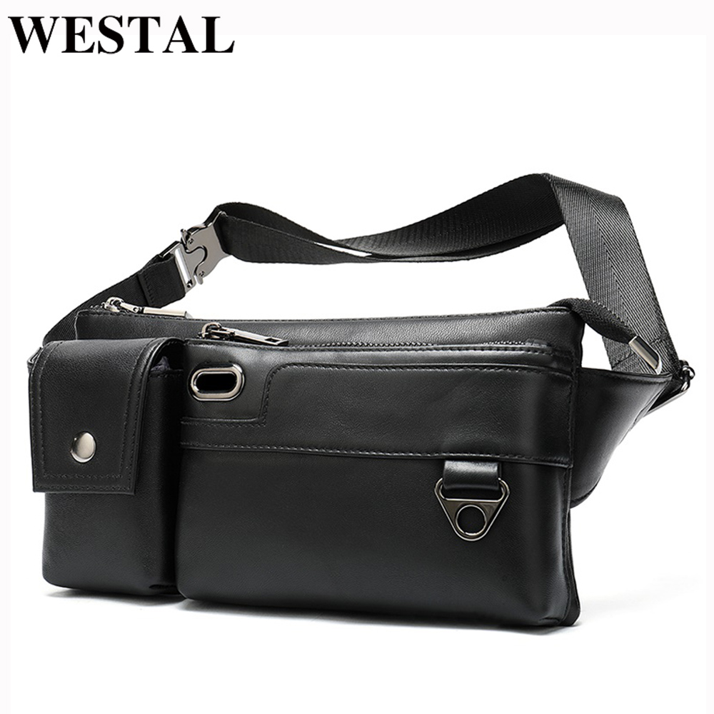 WESTAL 100% Sheep Leather Fanny Pack Black Men's Waist Bag Genuine Leather USB Charging Waist Pack Money Belt Pouch Male 8992