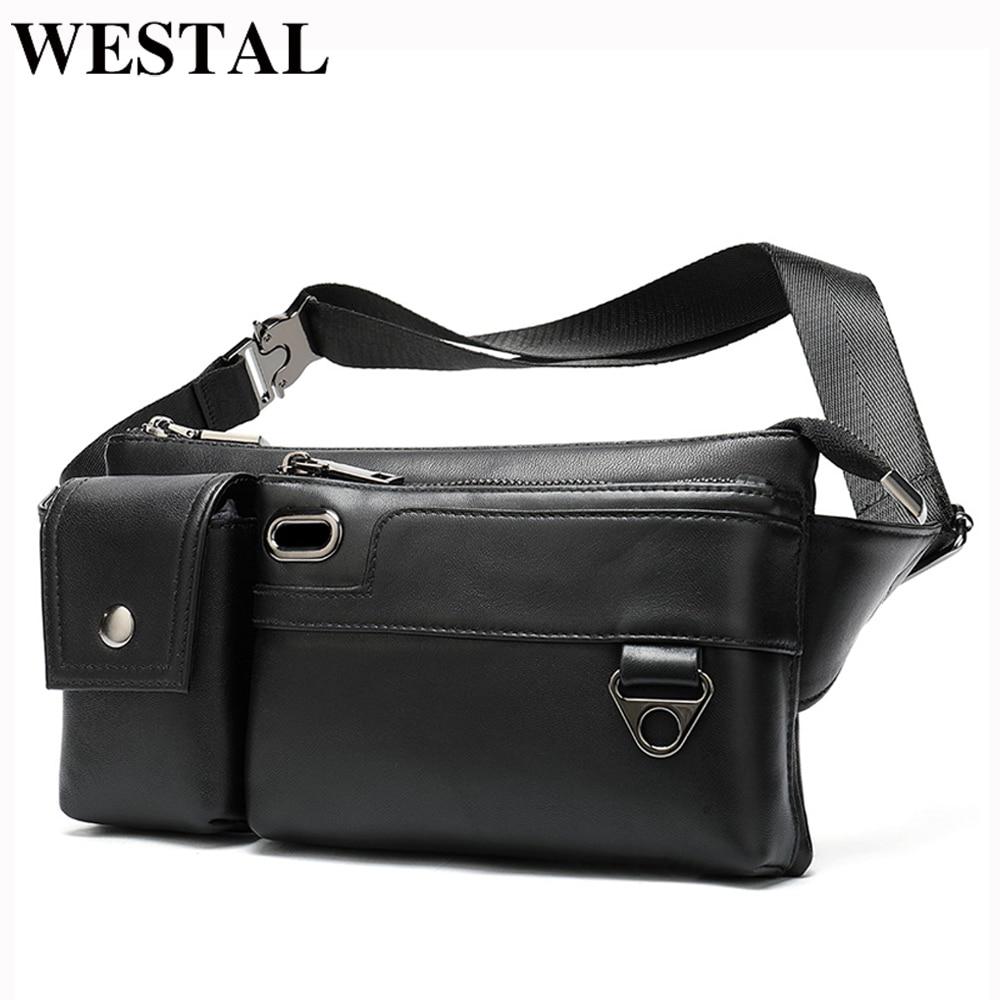 WESTAL 100% Sheep Leather Fanny Pack Black Men's Waist Bag Genuine Leather USB Charging Waist Pack Money Belt Pouch Male 8992