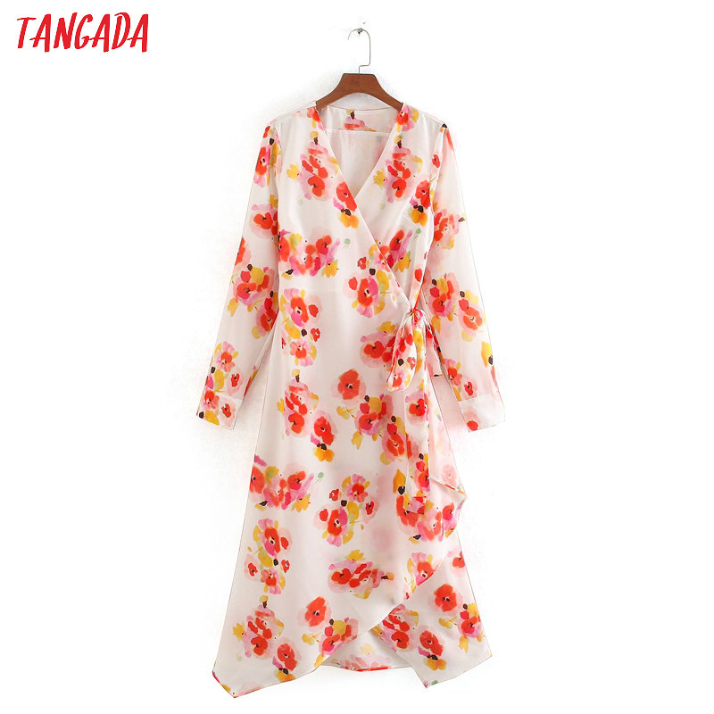 Tangada Women Stylish Elegant Floral Print Dresses Long Sleeve Sashes Bohemian Dress V Neck Ladies Chiffon Dress CE129