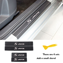цена на 4PCS Car Door Sill Stickers for FORD S-max Carbon Fibe Anti Scratch Auto Door Protection Film Stickers Car Accessories Styling