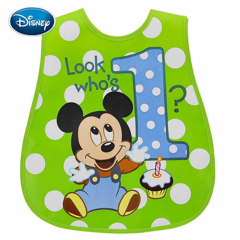 디즈니 1pcs 아기 bibs 방수 먹이 아기 타액 타월 신생아 만화 미키 앞치마 아기 bibs 조절 가능
